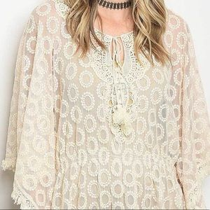 Ivory Butterfly Sleeve Lace Peplum Blouse Top